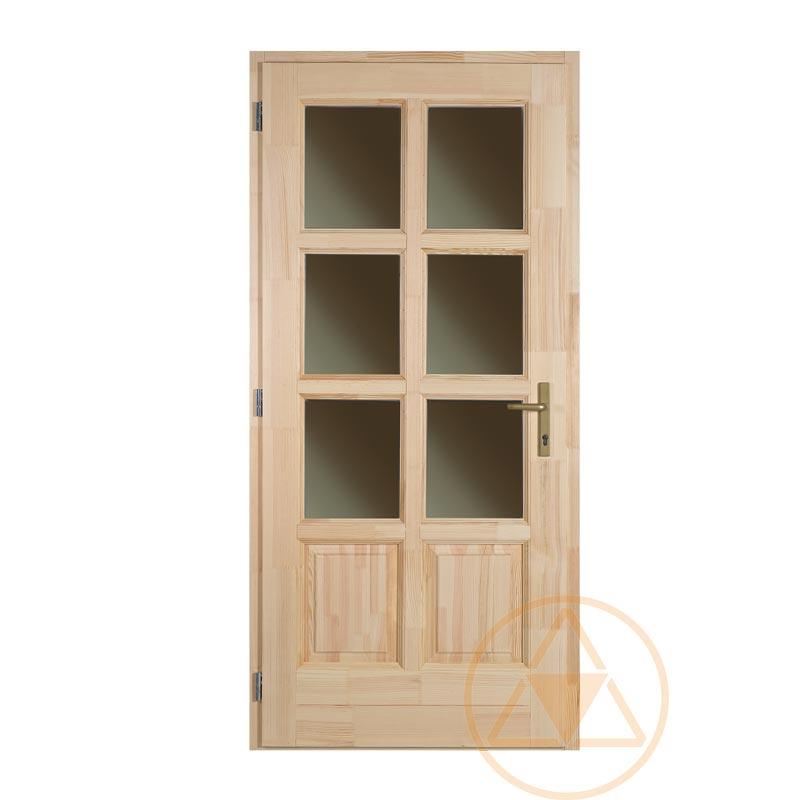 Szikra 8 Kazettás 6 üveges fenyő bejárati ajtó