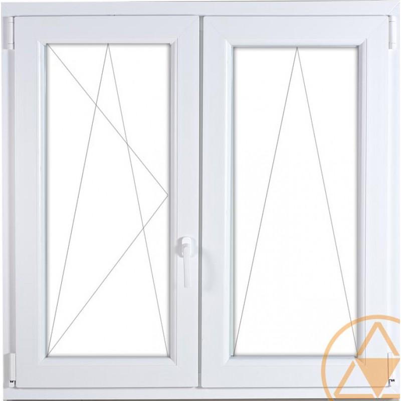 középen-felnyíló bukó/nyíló kétszárnyas műanyag ablak Gealan 74